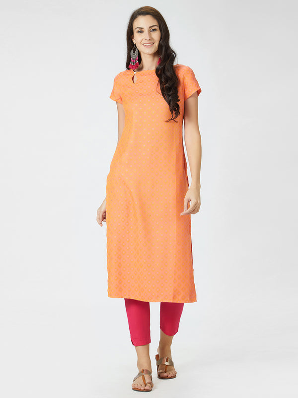 Orange Jaquard Kurta
