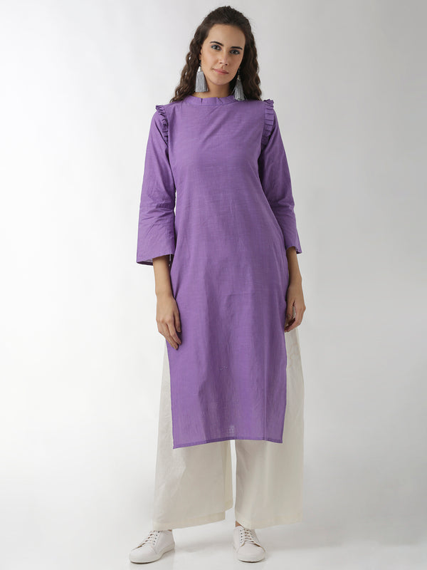 Statement Neck And Sleeves Violet Straight Kurta