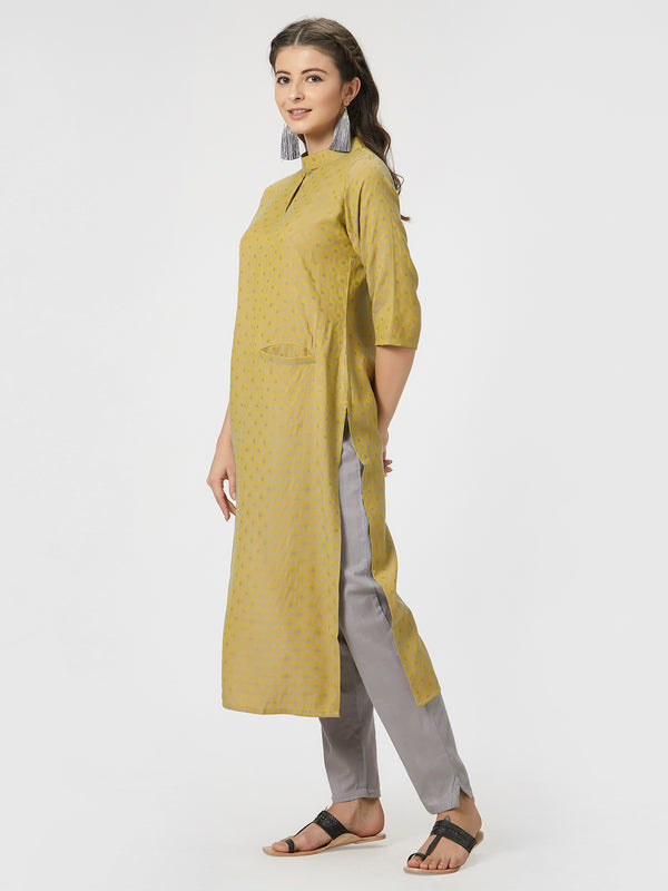 Yellow Jaquard Kurta