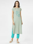 Sea Green Embroidered Straight Kurta