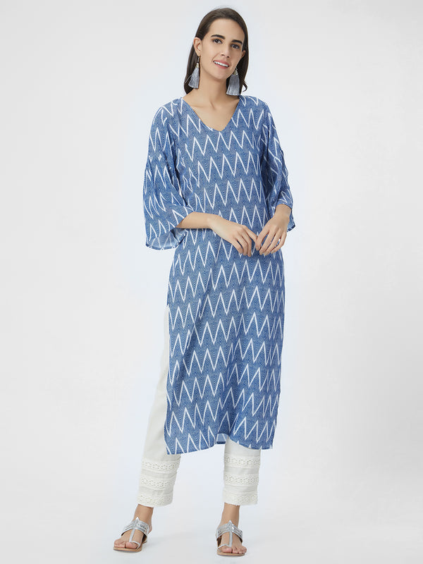 Blue & White Printed Straight Kurta
