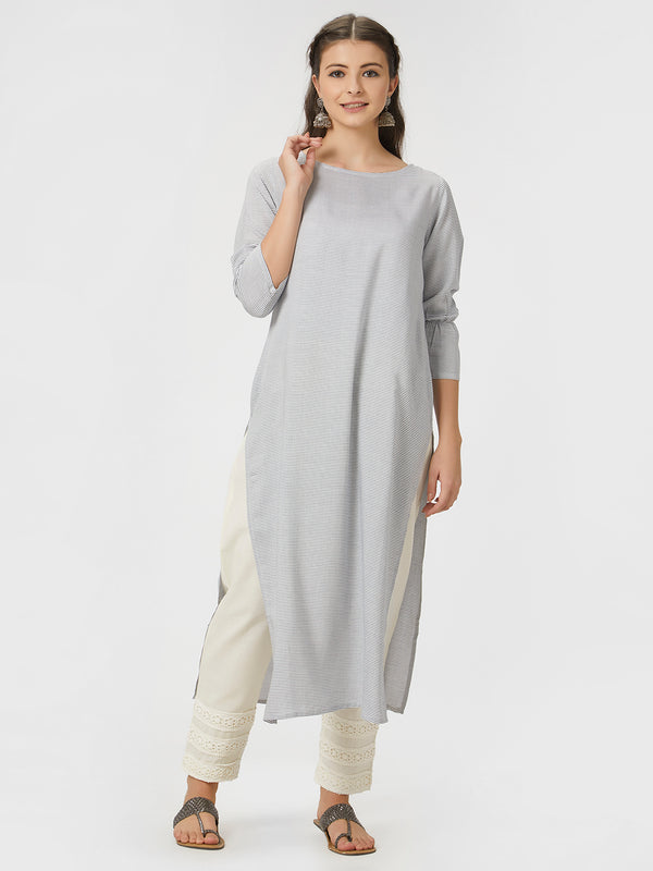 Grey Striped Kurta