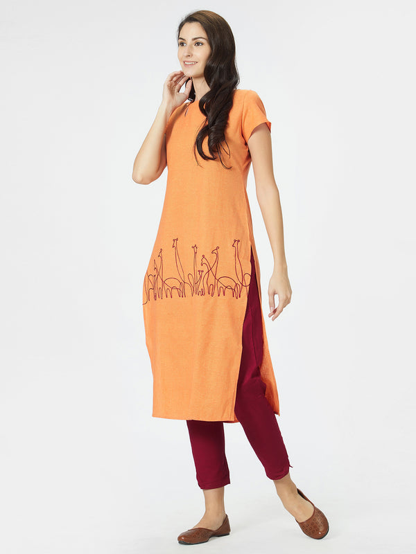 Orange Solid Straight Kurta