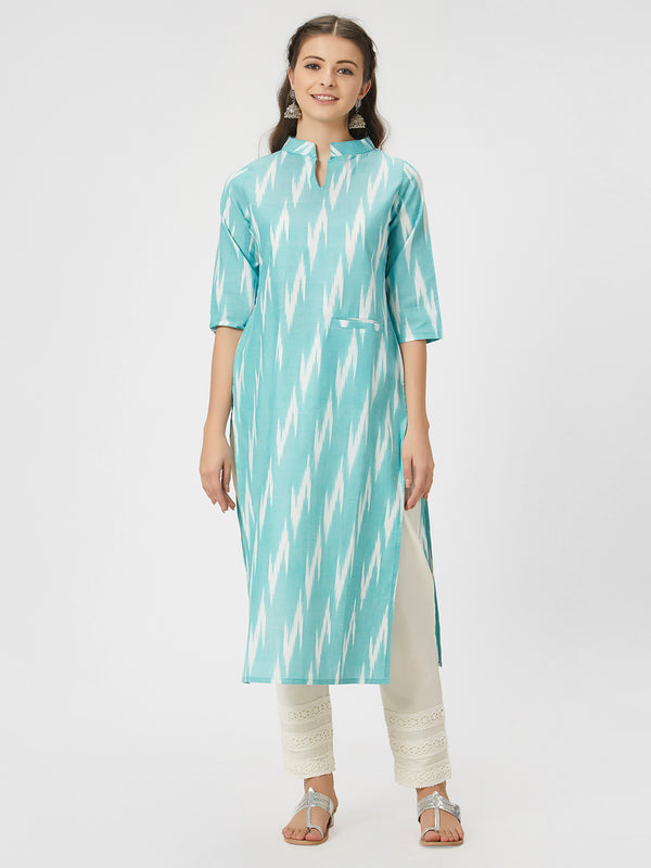 Green & White Ikkat Kurta