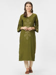 Green Solid Embroidered Straight Kurta