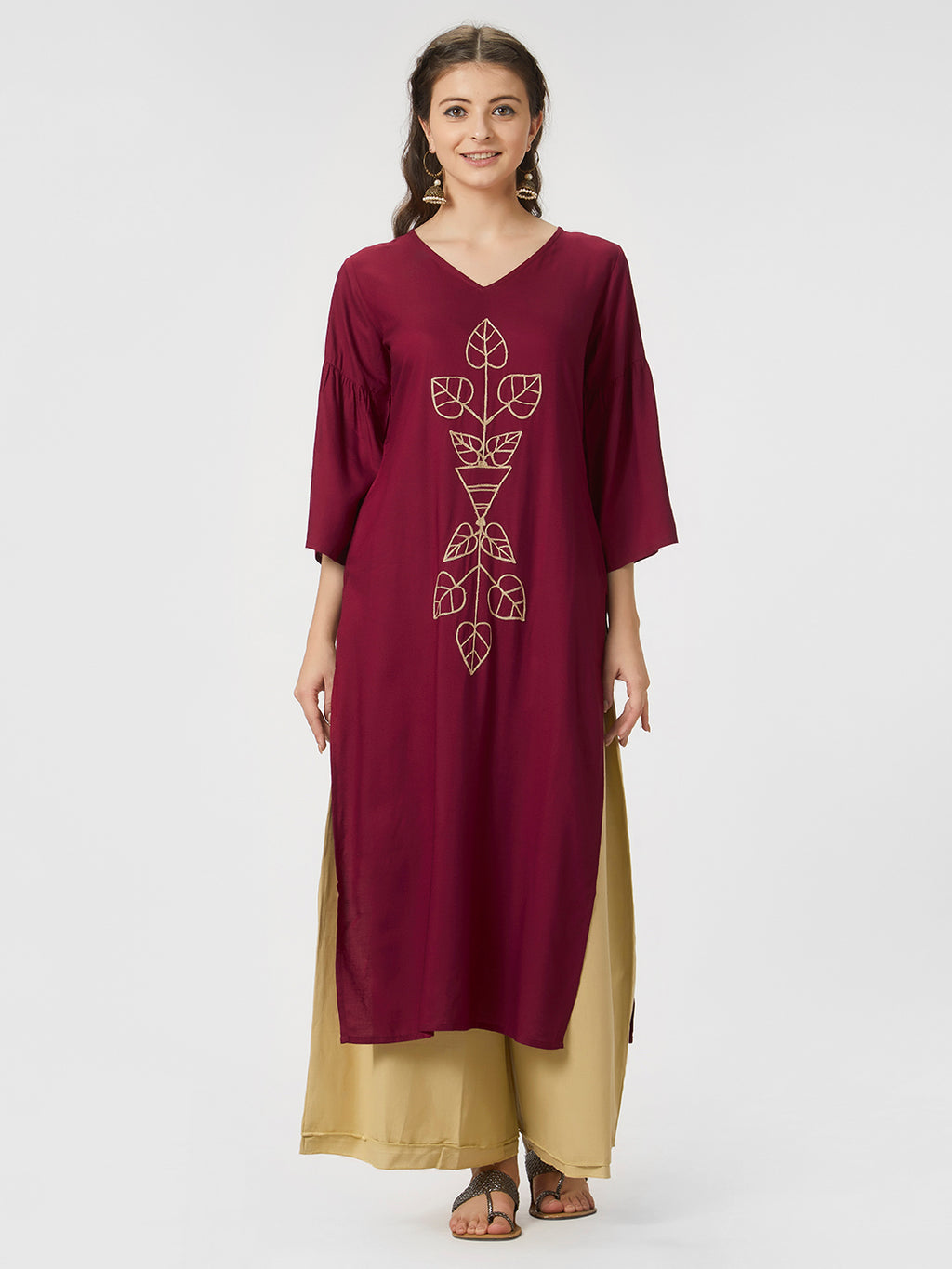Maroon Solid Embroidered Kurta