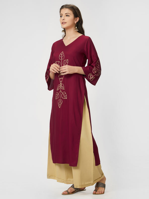 Wine Printed Kurta
