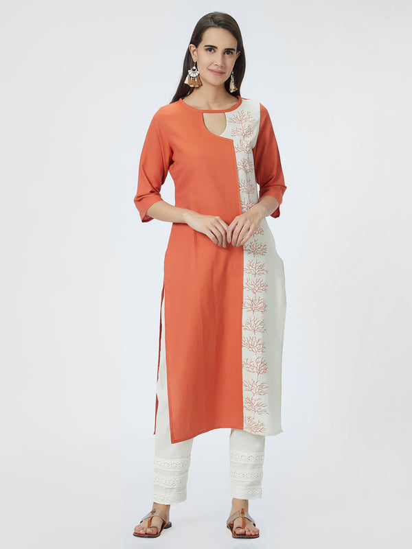 Orange & Cream Kurta