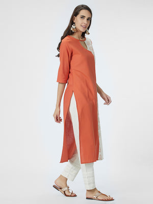 Embroidered Orange & Cream Kurta