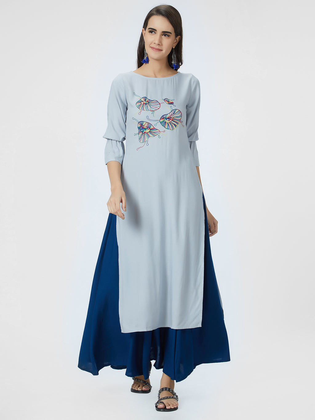 Light Grey Embroidered Straight Kurta