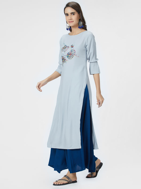 Grey Embroidered Kurta
