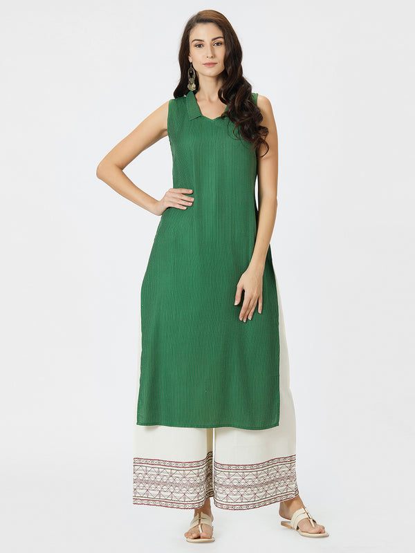 Green Striped Kurta