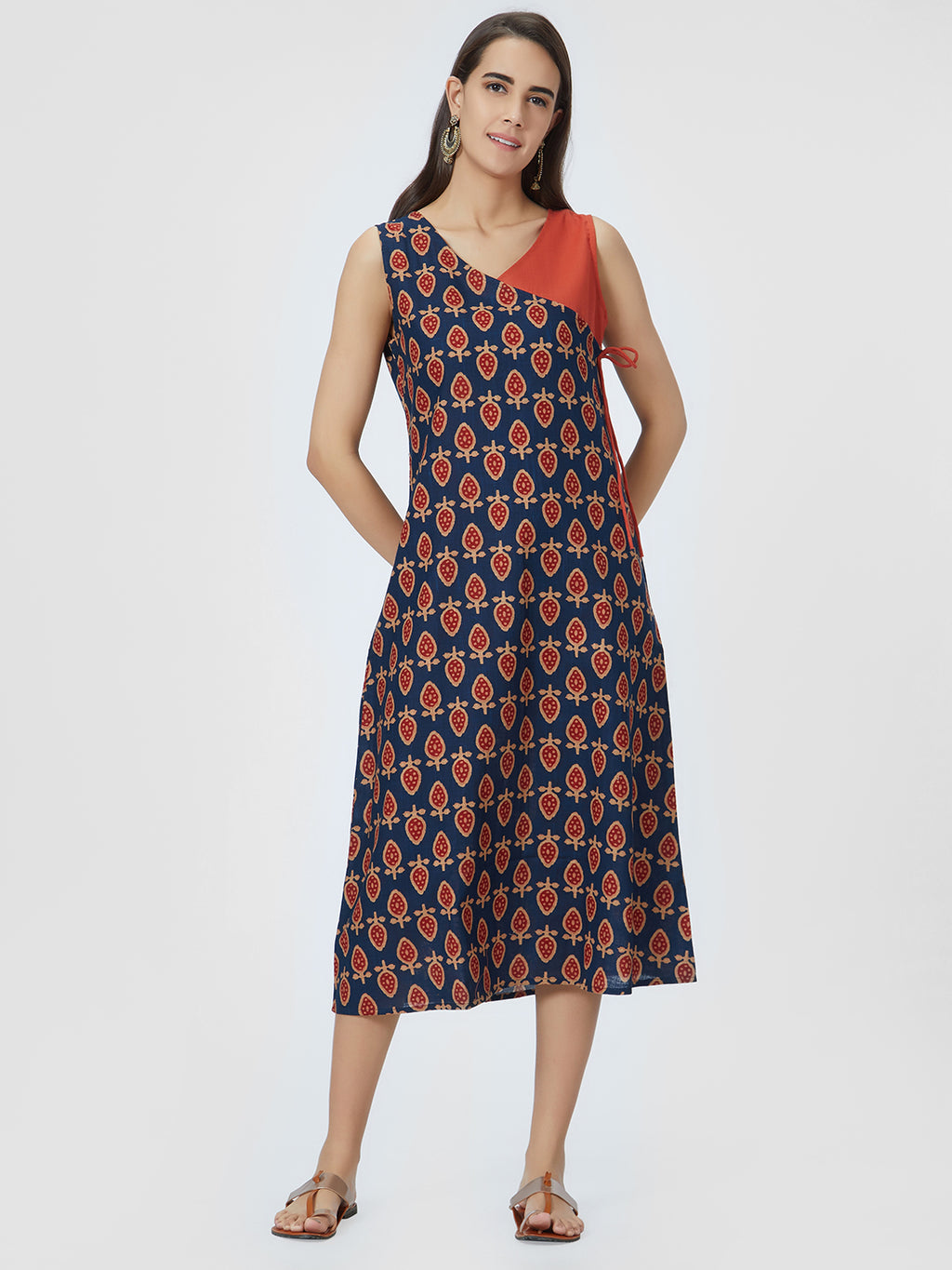 Blue Printed & Rust Red A-Line Dress