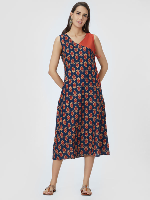 Blue Printed & Rust Red Dress