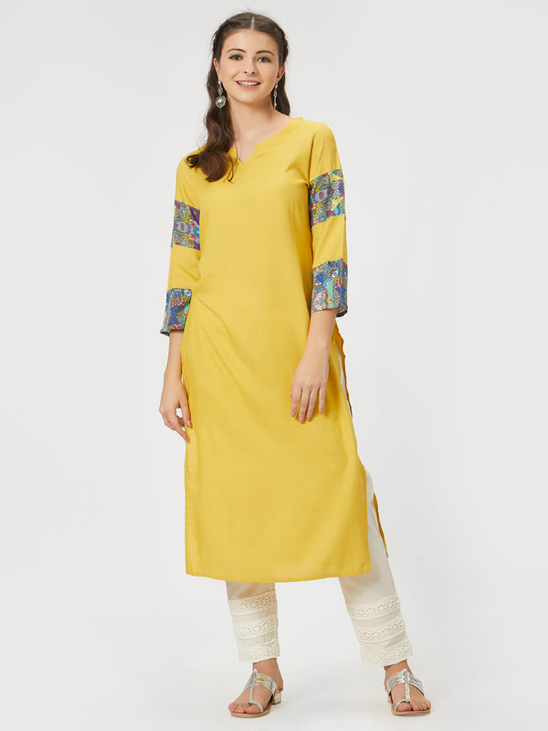 Yellow Straight Round Neck Kurta