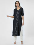 Black Embroidered Straight Kurta