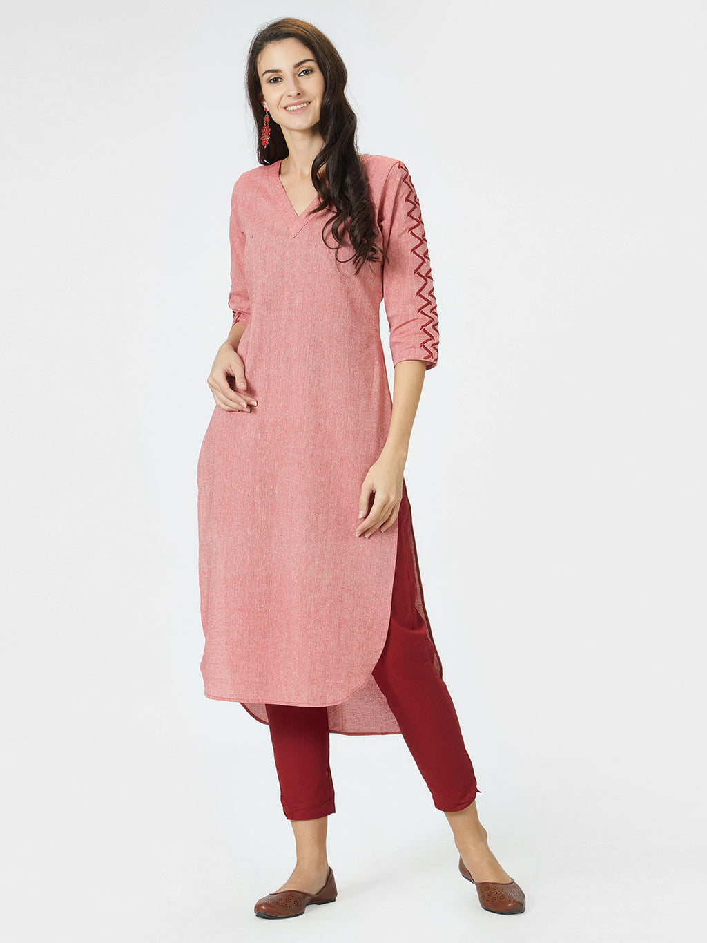 Embroidered Sleeves Red Kurta