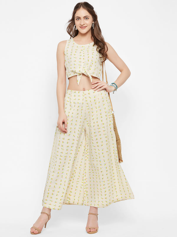 Cream Printed Co-ord Set