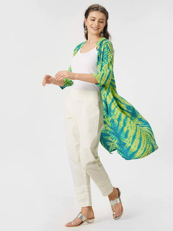 Green Bandhni Shrug