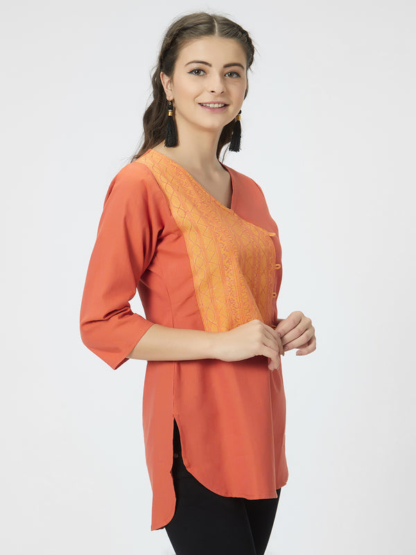 Orange Embroidered Top