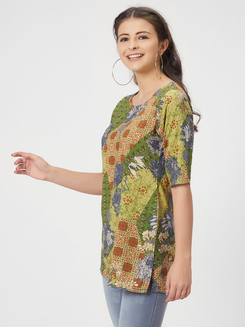 Green Floral Printed Long Top
