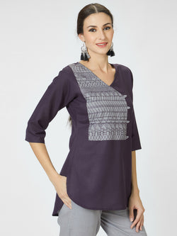 Purple Embroidered Long Top