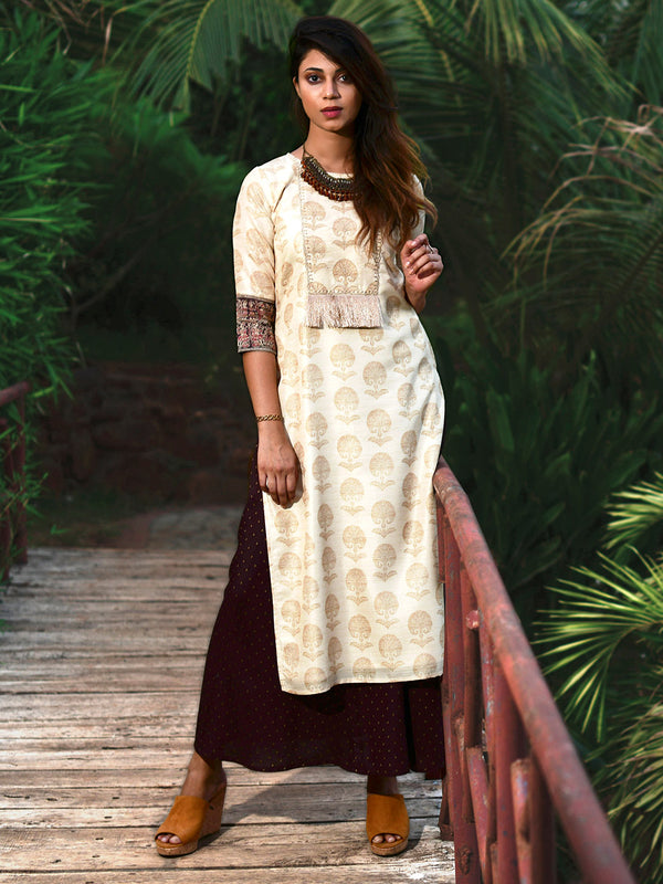 Cream Zari Embroidered Kurta