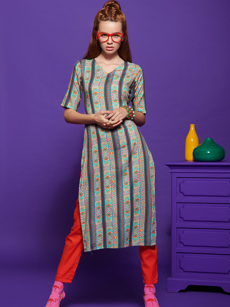 Multicolour Printed Kurta