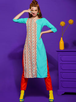 Blue Geometric Kurta