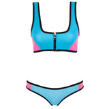 CHARLIE - Turquoise/Pink neoprene two-piece crop top set with black binding