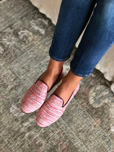 Women's Pink Chenille Tapestry Slippers