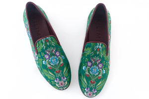 Women's Green Brocade Valenciana Slippers