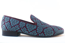 Load image into Gallery viewer, blue brocade loafers