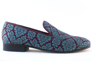 blue brocade loafers