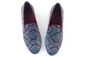 Blue brocade slippers