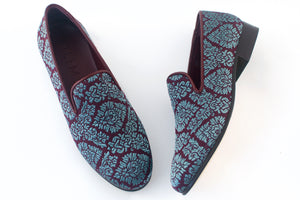 women's blue brocade slippers