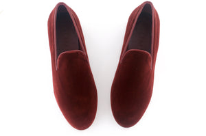 men's maroon velvet slippers