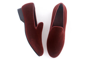 men's burgundy velvet slippers