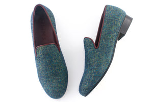 men's blue velvet slippers