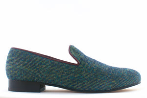 blue velvet slippers