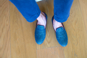 Men's Blue Peacock Tapestry Slippers