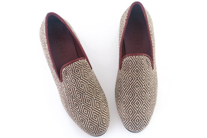 Brown tweed slippers