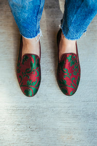 Women's Burgundy Brocade Valenciana Slippers