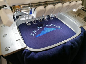 School Jumper being Embroidered
