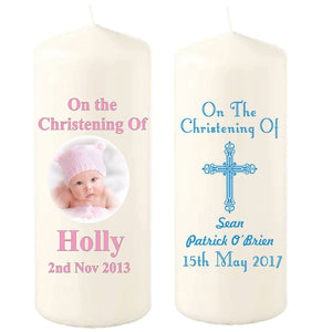 150mm Personalised Christening Candles