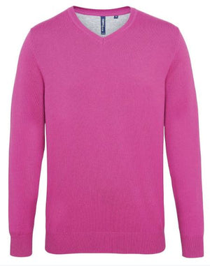 Ladies cotton blend v-neck sweater