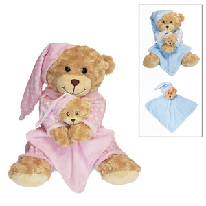 Bedtime Bear With Comforter, Personalised Gift