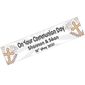 Communion Banner Gold & Silver, Personalised Gift