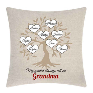 Granny's Blessings Linen Cushion, Personalised Gift