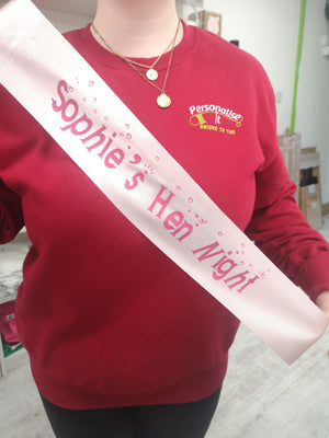 Personalised Sash, Personalised Gift
